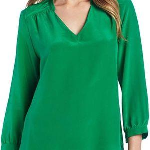 Amanda Uprichard Kelly Green Silk Tunic top S